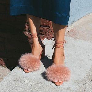 Loeffler Randall 'Nicky' fur suede sandal - 8.5